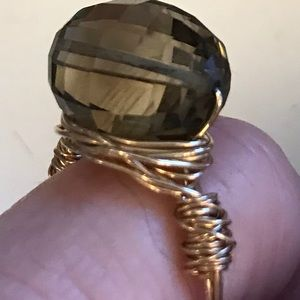 Gold Artist Wire Wrapped Smoky Topaz Ring~Size 5.5